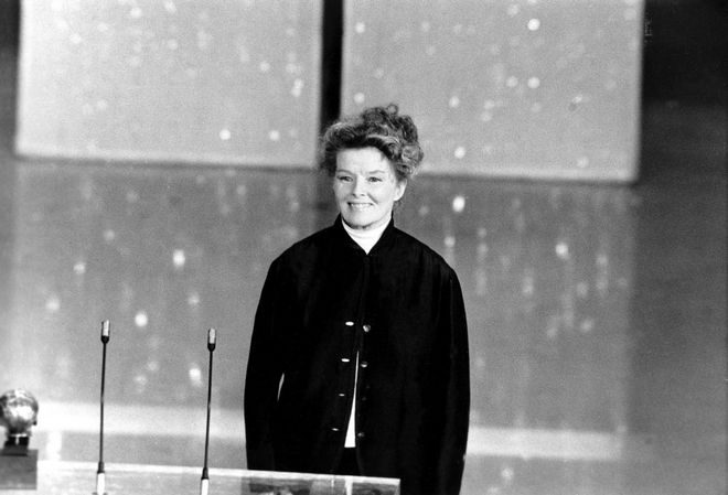Actress Katharine Hepburn addresses the 46th annual Academy Awards ceremony in Los Angeles, Ca., on April 2, 1974.  It is the three-time Oscar winner's first appearance at the awards.  (AP Photo)