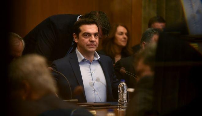 Ο πρωθυπουργός Αλέξης Τσίπρας σε υπουργικό συμβούλιο