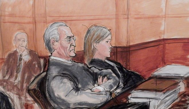 In this courtroom sketch, Vincent Asaro, 80, third from left, sits flanked by his defense attorneys during opening arguments, Monday, Oct. 19, 2015, at federal court in the Brooklyn borough of New York, in his federal racketeering conspiracy trial for his role in the $6 million, 1978 Lufthansa cargo heist at John F. Kennedy airport.  The dramatic robbery was immortalized in the film Goodfellas.  Asaro is charged, along with his son, Jerome, and three other defendants, in a wide-ranging indictment alleging murder, robbery, extortion, arson and other crimes from the late 1960s through 2013. (Elizabeth Williams via AP)