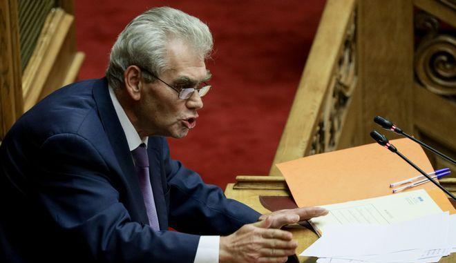 Ο Δημήτρης Παπαγγελόπουλος στη Βουλή τον Οκτώβριο του 2019