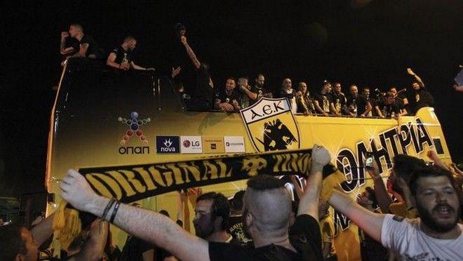 Η ΑΕΚ γιορτάζει την κατάκτηση του πρωταθλήματος