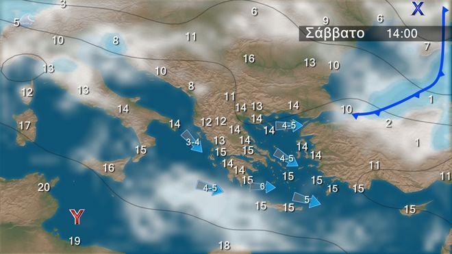 Καιρός: Τοπικές βροχές στα δυτικά, τα νότια και το Ανατολικό Αιγαίο
