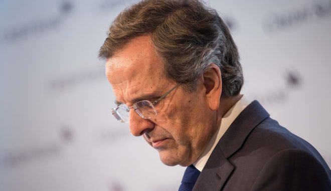 Antonis Samaras, former Greek prime minister, pauses during the Credit Suisse Asian Investment Conference in Hong Kong, China, on Thursday, April 7, 2016. The conference runs from April 5 to 8. Photographer: Billy H.C. Kwok/Bloomberg via Getty Images