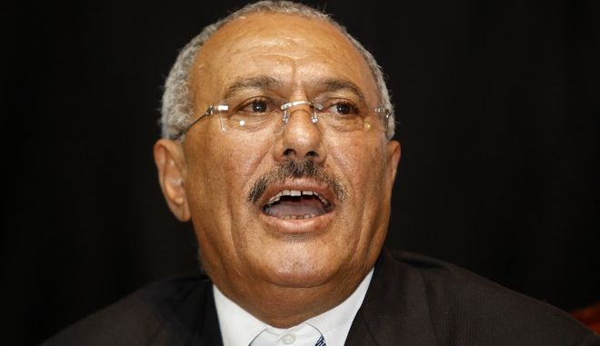 Yemeni President Ali Abdullah Saleh delivers a speech during a meeting with his supporters, in Sanaa, Yemen, Sunday, Feb. 20, 2011. Some 3,000 students protesting at Sanaa University in the Yemeni capital seek to oust longtime President Ali Abdullah Saleh, a key U.S. ally in the fight against al-Qaida, and have been inspired by uprisings in Egypt and Tunisia. (AP Photo/Hani Mohammed)