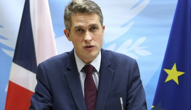 Britain's Defence Secretary Gavin Williamson talks to the media during a press conference at the Cyprus' Defense Ministry after talks with Cyprus' Defense minister Christoforos Fokaides in capital NIcosia, Cyprus, Friday, Jan. 5, 2018. Williamson says authorities are looking to ensure British armed forces 'work closer and more supportively' with Cyprus' armed forces in tackling common challenges. (AP Photo/Petros Karadjias)