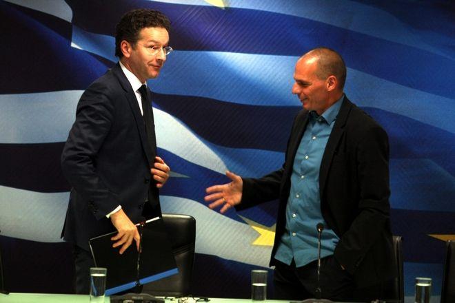 Ο υπουργός Οικονομικών Γιάννης Βαρουφάκης και ο πρόεδρος του Eurogroup Γερούν Ντάισελμπλουμ στην συνέντευξη τύπου μετα το τέλος της συνάντησης τους στο υποουργείο Οικονομικών την Παρασκευή 30 Ιανουαρίου 2015.