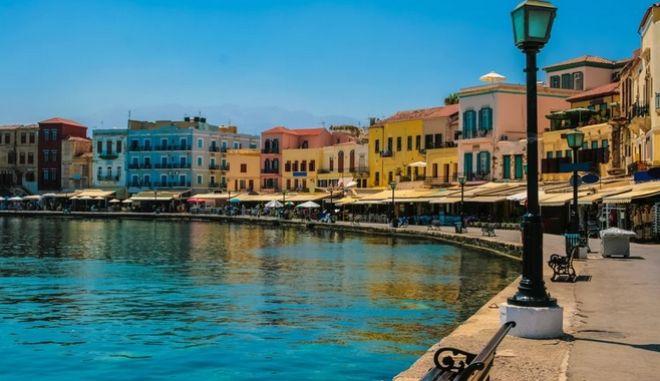 19740675 - beautiful cityscape and promenade in city of chania on island of crete, greece