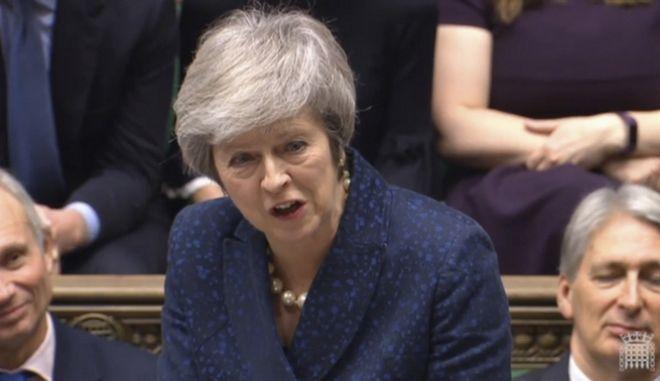 Η πρωθυπουργός της Βρετανίας, Τερέζα Μέι, κατά την ομιλία της στη Βουλή