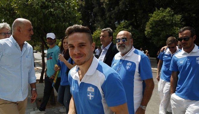 Υποδοχή από τον Πρόεδρο της Δημοκρατίας, Προκόπη Παυλόπουλου, των Ολυμπιονικών της Ελληνικής Ομάδας που έλαβε μέρος στους αγώνες του Ρίο Ντε Τζανέιρο στο Προεδρικό Μέγαρο την Πέμπτη 25 Αυγούστου 2016. Την αποστολή συνόδευσε ο υφυπουργός Πολιτισμού και Αθλητισμού, Σταύρος Κοντωνής. (EUROKINISSI/ΣΤΕΛΙΟΣ ΜΙΣΙΝΑΣ)