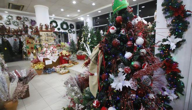 Μαγαζί με χριστουγεννιάτικα είδη στη Θεσσαλονίκη