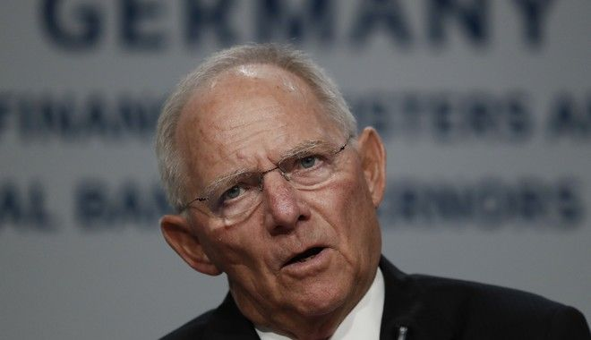 Germany's Federal Minister of Finance Wolfgang Schäuble speaks during the G20 news conference at the 2017 World Bank Group Spring Meetings in Washington, Friday, April 21, 2017. (AP Photo/Carolyn Kaster)