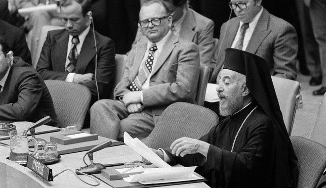 Ousted President of Cyprus, Archbishop Makarios, reading a statement at the United Nations in New York City, July 19, 1974. Makarios is appealing for