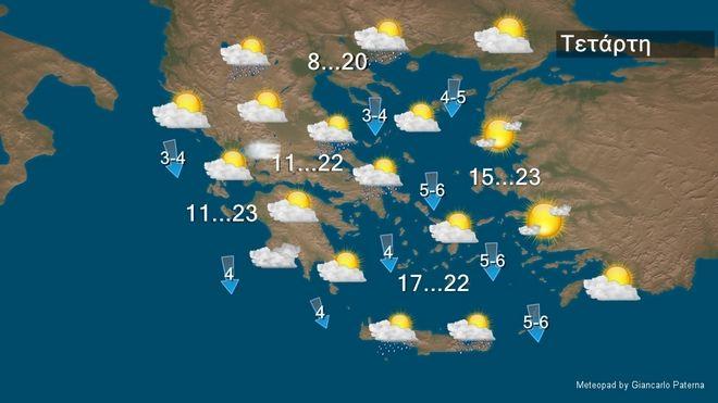 Παροδικές νεφώσεις με λίγες τοπικές βροχές την Τετάρτη