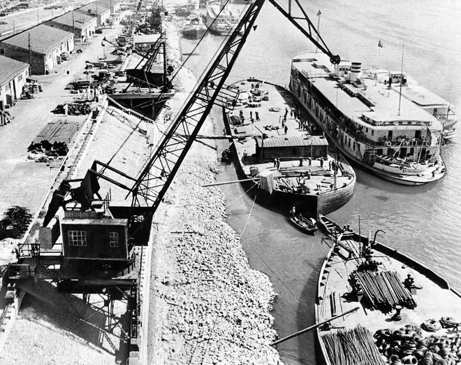 One of the main objectives of the German drive on the Soviet industrial city of Stalingrad is to gain control of the city's Volga River traffic facilities such as this moorage. Nazis said that German forces had driven to within 15 miles of Stalingrad from the south, Aug. 31, 1942. (AP Photo/Sovfoto) **NO SALES**