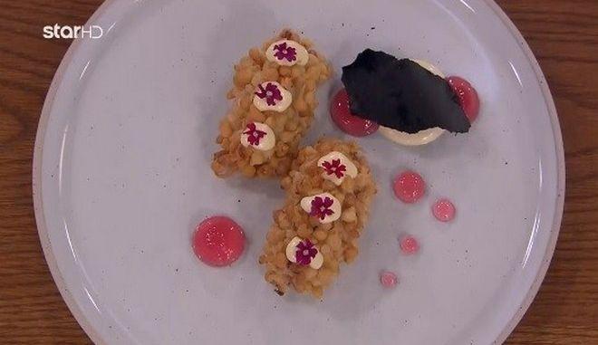 Brandade πεσκανδρίτσας με μαγιονέζα dashi, ponzu, gel κρεμμυδιού