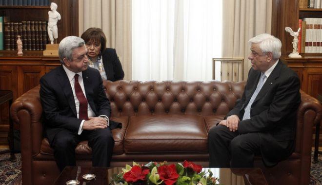 Συνάντηση του Προέδρου της Δημοκρατίας Προκόπη Παυλόπουλο με τον Πρόεδρο της Αρμενίας, Serzh Sargsya, την Δευτέρα 14 Μαρτίου 2016, στο Προεδρικό Μέγαρο. (EUROKINISSI/ΓΙΩΡΓΟΣ ΚΟΝΤΑΡΙΝΗΣ)