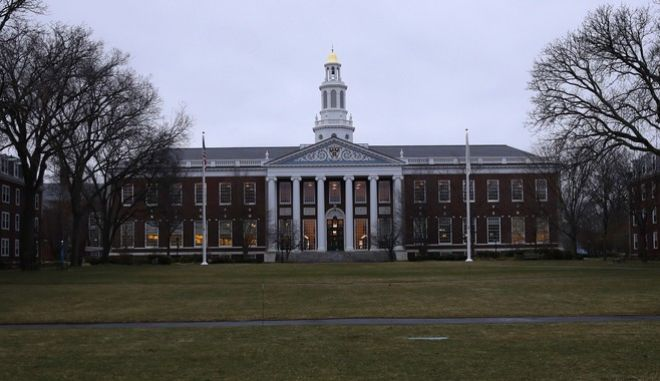 The Baker Library at the Harvard Business School on the campus of Harvard University in Cambridge, Mass., Tuesday, March 7, 2017. (AP Photo/Charles Krupa)