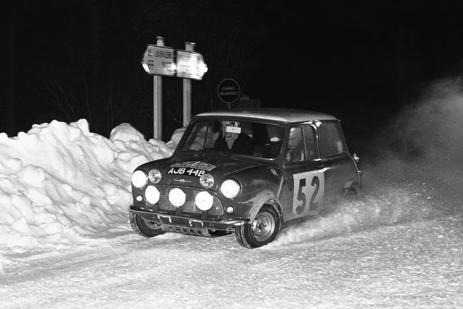 Timo Makinen of Finland, left, and Paul Easter of Britain cross the snow-bound Turini Pass, in their Mini-Cooper, on Jan. 21, 1965, during the mountain test in the Monte Carlo Rally. They were the eventual winners. (AP Photo)