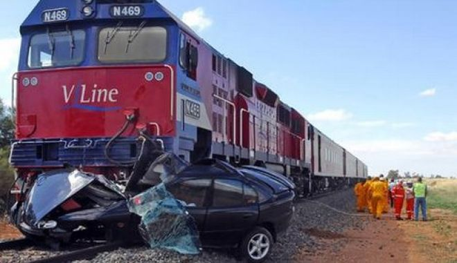 A 48-year-old Bendigo woman died when her car was hit by this  V/Line passenger train near Dingee.