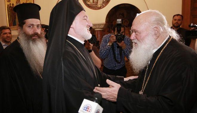 Συνάντηση Αρχιεπισκόπου Ιερώνυμου με τον νέο Αρχιεπίσκοπο Αμερικής Ελπιδοφόρος