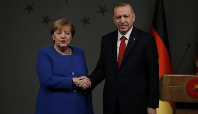 Ο Ταγίπ Ερντογάν και η Άνγκελα Μέρκελ