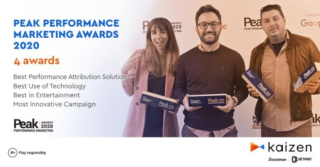 Kaizen Gaming: Τετραπλή διάκριση στα Peak Performance Marketing Awards 2020 για το brand Betano