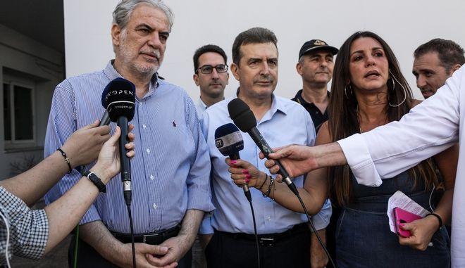 Ο Ευρωπαίος Επίτροπος για την Ανθρωπιστική Βοήθεια και τη Διαχείριση Κρίσεων, Χρήστος Στυλιανίδης, και ο υπουργός Προστασίας του Πολίτη Μιχάλης Χρυσοχοΐδης κάνουν δηλώσεις στο Κέντρο Επιχειρήσεων της Πολιτικής Προστασίας κατά την επίσκεψη του πρώτου την τετάρτη 14 Αυγούστου 2019. (EUROKINISSI/ΓΙΑΝΝΗΣ ΠΑΝΑΓΟΠΟΥΛΟΣ)