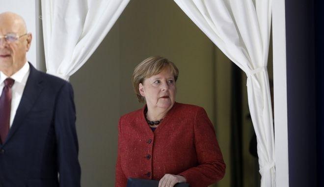 Η Γερμανίδα καγκελάριος Άνγκελα Μέρκελ παρευρίσκεται στο Παγκόσμιο Οικονομικό Φόρουμ στο Νταβός της Ελβετίας την Πέμπτη 23 Ιανουαρίου 2020
