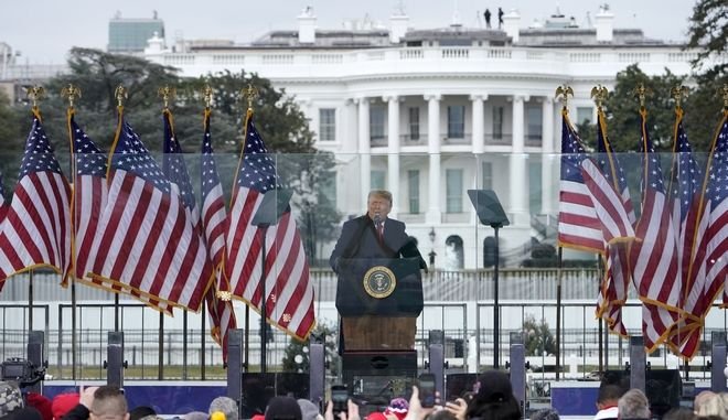 With the White House in the background, President Donald Trump speaks at a rally Wednesday, Jan. 6, 2021, in Washington. (AP Photo/Jacquelyn Martin)