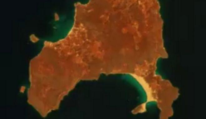 Φωτιά στην Ελαφόνησο: Οι δορυφορικές εικόνες που δείχνουν το μέγεθος της καταστροφής