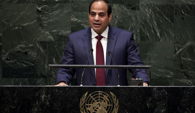 President Abdel Fattah el-Sisi, of Egypt, addresses the 69th session of the United Nations General Assembly, at U.N. headquarters, Wednesday, Sept. 24, 2014. (AP Photo/Richard Drew)