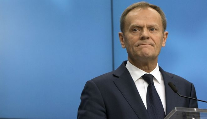 European Council President Donald Tusk listens to questions during a media conference at the end of an EU summit in Brussels on Friday, March 10, 2017. EU leaders are debating the future of their bloc as Britain eyes the exit door and far-right parties look to get strong results in upcoming elections. (AP Photo/Virginia Mayo)