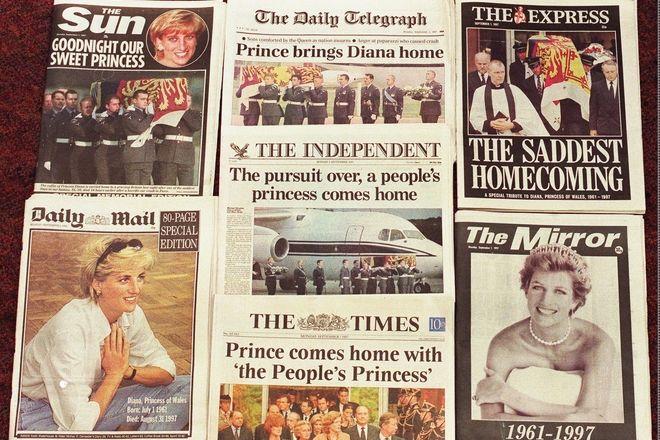 Πρωτοσέλιδα εφημερίδων για τον θάνατο της Νταϊάνα