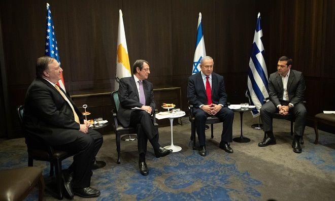 Μπέντζαμιν Νετανιάχου, Νίκος Αναστασιάδης και Μάικ Πομπέο κατά τις σύντομες εναρκτήριες τοποθετήσεις τους στο ξεκίνημα της συνάντησης Κορυφής σχήματος 3+1 των τριών ηγετών με τον ΥΠΕξ των ΗΠΑ, στην Ιερουσαλήμ