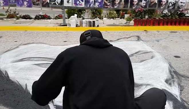 Παντελής Παντελίδης: Το τεράστιο γκράφιτι στο σημείο του δυστυχήματος