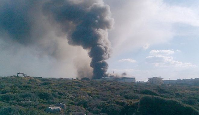Πυρκαγιά στο εργοστάσιο της Creta Farms στο Ρέθυμνο