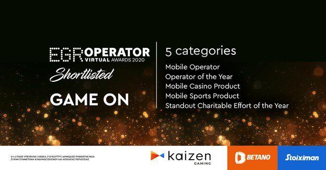 EGR Operator Awards 2020: Με 5 υποψηφιότητες 5 η Kaizen Gaming στην τελική ευθεία των «Όσκαρ» του online gaming
