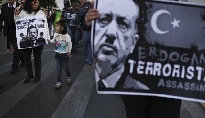 Διαμαρτυρία Κούρδων κατά του Ερντογάν στο κέντρο της Αθήνας