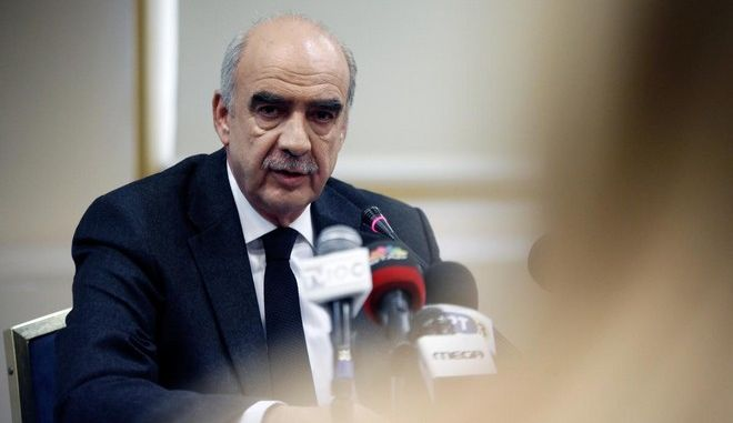 The candidate for president of New Democracy, Evangelos Meimarakis, delivers a press conference at Grand Hotel Palace in Thessaloniki, Greece on December 5, 2015. /        ,  ,   Grand Hotel Palace, , 5  2015.