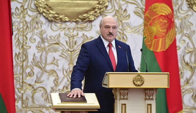 Ο Πρόεδρος της Λευκορωσίας Αλέξαντρ Λουκασένκο στην τελετή ορκομωσίας της έκτης θητείας του, 23 Σεπτεμβρίου 2020.