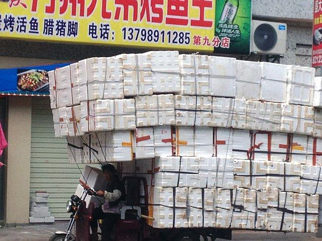 Pic shows: The overloaded tricycle with the boxes.  A woman nearly caused a pile up by loading her tricycle with scores of empty cardboard boxes.  Stunned motorists had to give her a wide birth as she fastened on the boxes  in the city of Dongguan, south Chinas Guangdong Province.  Witnesses said some 200 empty plastic boxes were tied to the tricycle, which would have been considered a serious traffic violation, had she been caught by police.  The small tricycle looked like  a lorry  after the woman  had finished her handiwork.  Some passing motorists actually stopped  to take photos  while others took a wide berth in case the boxes came tumbling down onto their cars. Pictures of her laden down transport quickly went viral on Chinese social media.  One called her  the