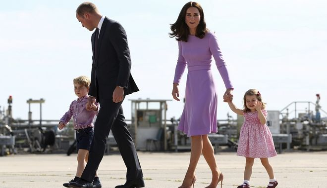 FILE - In this Friday, July 21, 2017 file photo Britain's Prince William, second left, and his wife Kate, the Duchess of Cambridge, second right, and their children, Prince George, left, and Princess Charlotte, right are on their way to board a plane in Hamburg, Germany. The Duke and Duchess of Cambridge say their third child will be due in April, it was announced on Tuesday, Oct. 17, 2017. ( Christian Charisius/Pool Photo via AP, File)