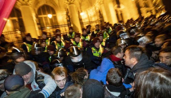 Πλάνα από τις διαδηλώσεις στη Βουδαπέστη