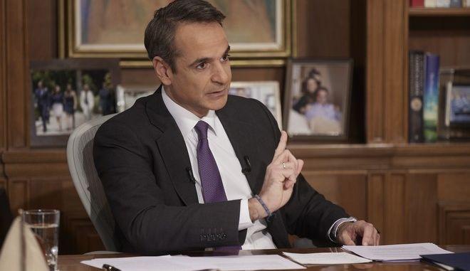 Ο πρωθυπουργός Κυριάκος Μητσοτάκης κατά τη διάρκεια της συνέντευξής του στο Star