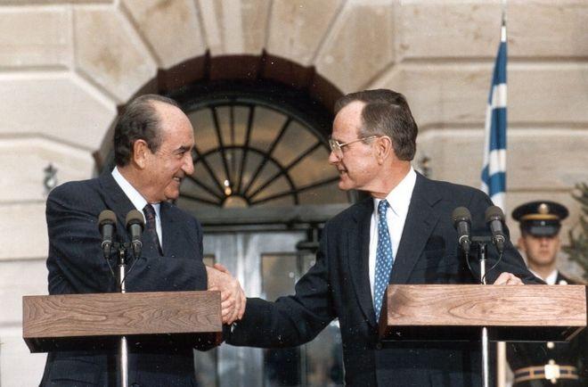Χειραψία Κ. Μητσοτάκη με τον Πρόεδρο των ΗΠΑ George Bush, 12/12/1991