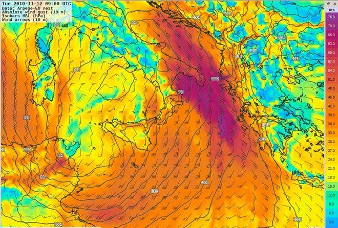 Καιρός: Σφοδρές καταιγίδες και νοτιάδες μέχρι 10 μποφόρ - Πού και πότε θα χτυπήσει η κακοκαιρία