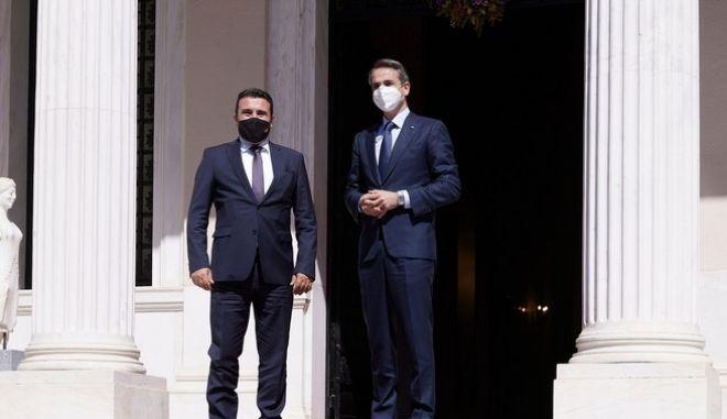 Ο Πρωθυπουργός Κυριάκος Μητσοτάκης με τον Πρωθυπουργό της Βόρειας Μακεδονίας Zoran Zaev