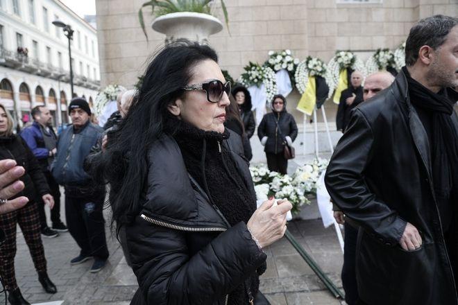 Ελένη Φιλίνη στην κηδεία του ηθοποιού Κώστα Βουτσά στην Αθήνα την Παρασκευή 28 Φεβρουαρίου 2020