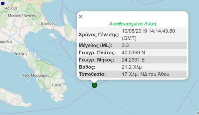 Ασθενής σεισμός 3,3 Ρίχτερ στη Χαλκιδική