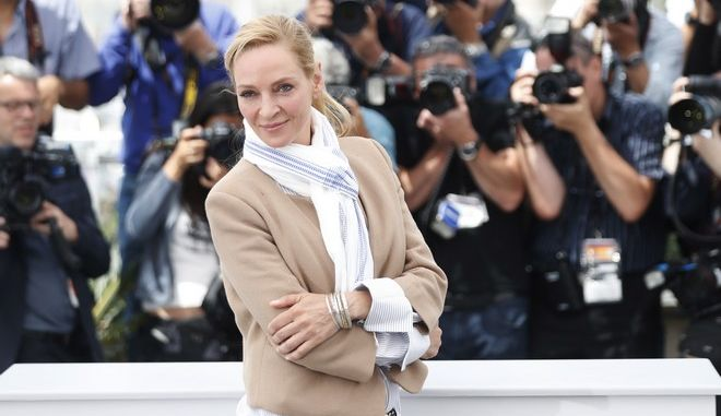 Jury member Uma Thurman poses for photographers during the photo call for the Un Certain Regard jury at the 70th international film festival, Cannes, southern France, Thursday, May 18, 2017. (AP Photo/Thibault Camus)